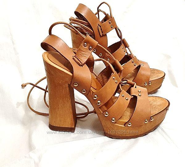 Босоножки бежевые женские открытый носок платформа, высокий каблук р38 Asos