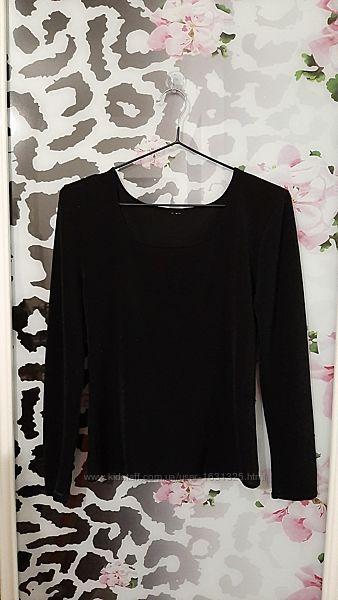 Кофточка стрейчевая чёрная женская длинный рукав трикотин с блеском р48