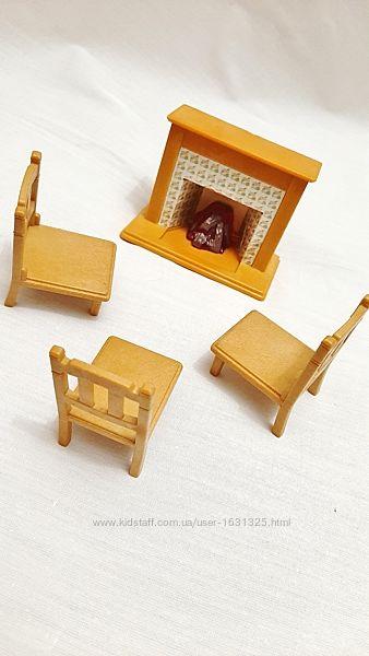 Мебель игрушки детские камин на батарейке, три стула для кукол пупсов