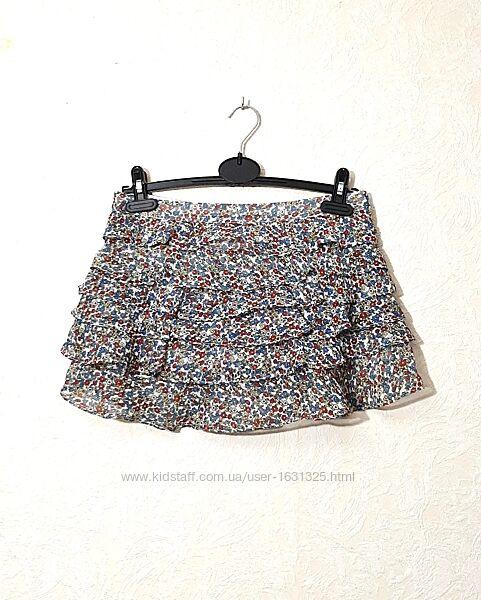 Юбка с воланами цветочки мини летняя прозрачный шёлк белая синяя р46 Orsay