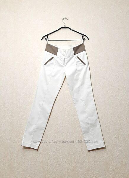 Штаны белые брюки коричневая отделка летние женские S-M 30L Spring Fashion