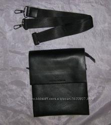Барсетка, планшетница, мужская сумка на плечо, натуральная кожа, черная