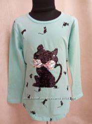 Тунички на девочек с паетками меняющими цвет перевёртышами с котиком кот