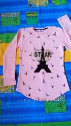 Туника тёплая кофта пудровая для девочки с паетками свитер