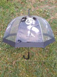 Прозрачный зонт трость полуавтомат ретро Мерлин Монро Одри Элвис Beatles