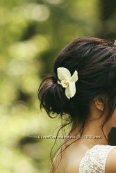 Украшение для волос. Шпилька, заколка. Орхидея. Холодный фарфор. Цветы