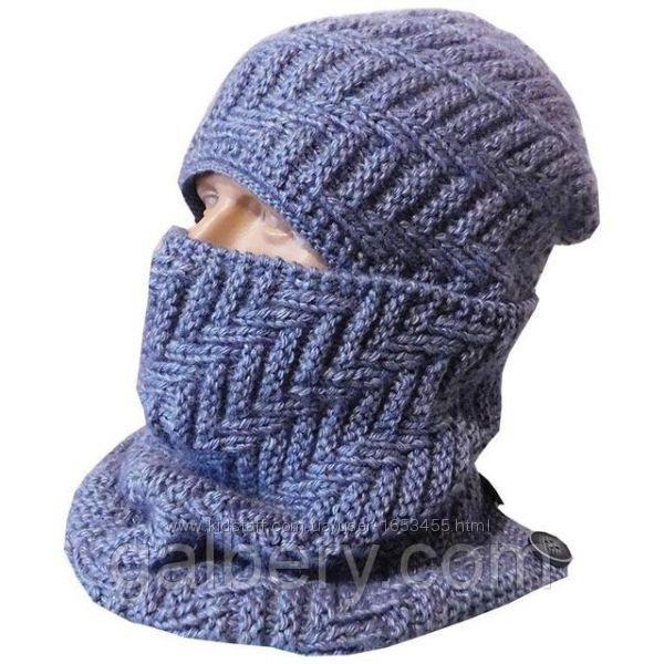 Мужская шапка и шарф - бафф ручной работы