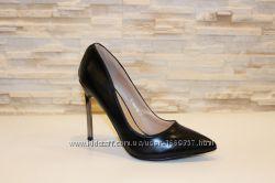 Туфли женские черные на каблуке Т609