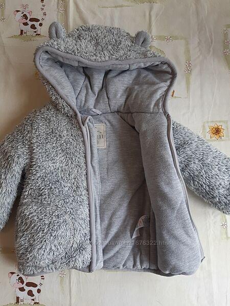 Меховая куртка-кофта George для ребенка 6-9 месяцев на хлопковой подкладке.