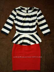 Костюм юбка с баской