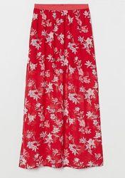 Шикарная яркая шифоновая длинная юбка в пол макси divided h&m