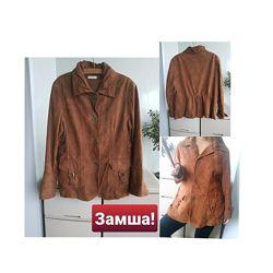 Замшевый жакет коричневый кожаный пиджак натурпльная замша батал bonita 3XL