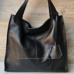 Женская итальянская кожаная сумка черная жіноча шкіряна сумка чорна Італія