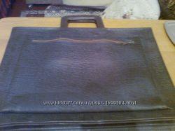 Кожаный портфель-сумка коричневого цвета Новый