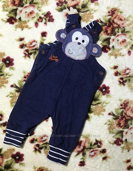 Детский полукомбинезон с обезьянкой Bluezoo Блузу 0-3 месяца 56-62 см ориги