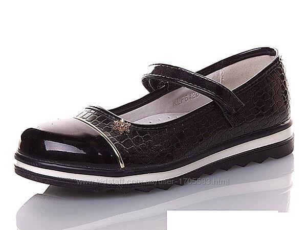 Черные детские школьные туфли для девочек KLF 32-37