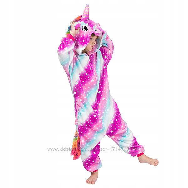 Скидка Пижама Кигуруми Единорог детская разные расцветки молния