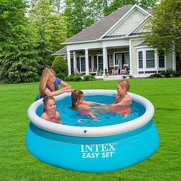 Надувной наливной семейный бассейн Интекс детский круглый 183х51см