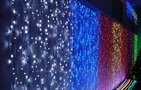 Новогодние светодиодные гирлянды водопады, бахрома, метеор. дождь, нити, шт