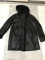 Женская дубленка куртка пальто тёплая с мехом большой размер Киев самовывоз