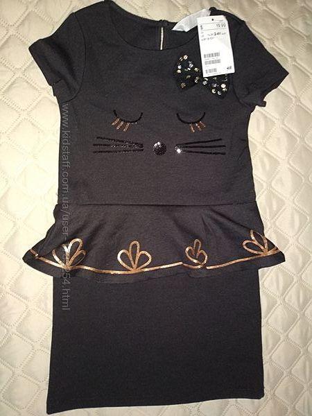 Платье коктейльное из плотного трикотажа H&M Швеция, размер 98/104, 2-4 год