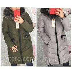Женская длинная куртка пуховик с толстой молнией серая хаки