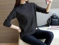 Вязаный свитер с разрезами черный, все цвета