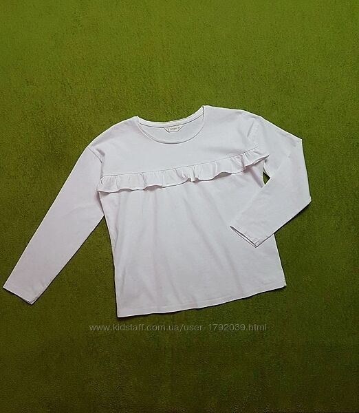 Белая трикотажная блузка свитшот кофточка на девочку 134-140 см, Mango