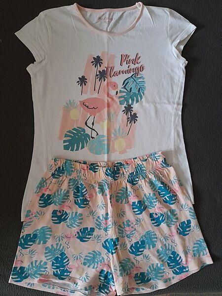 Пижама летняя с шортами на девочку, хлопок