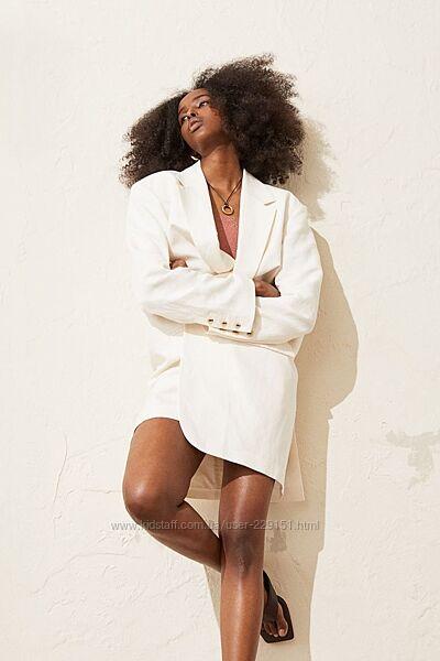 Льняной двубортный жакет оверсайз  от H&M-новая коллекция