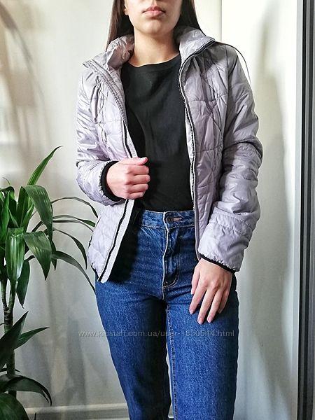 Светлая серо-голубая демисезонная тёплая стеганая куртка 34-36/40-44