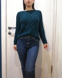 Теплый Сине-зелёный свитер кофта с узором плетением косами 42-46/32-36