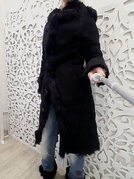 Дубленка XS натуральная овчина мех тоскана черная длинная Турция