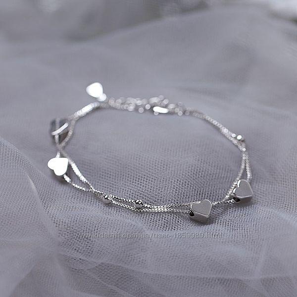 Браслет двойной сердце серебро 925