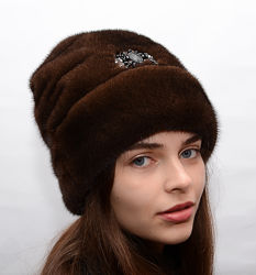 Женская зимняя норковая шапка рукавичка отворот 074