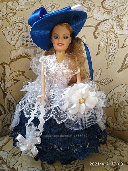 Кукла-шкатулка , лялька - шкатулка , синий с белым