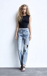 Модные джинсы прямого кроя с высокой посадкой zara, р. 34, 36, 38