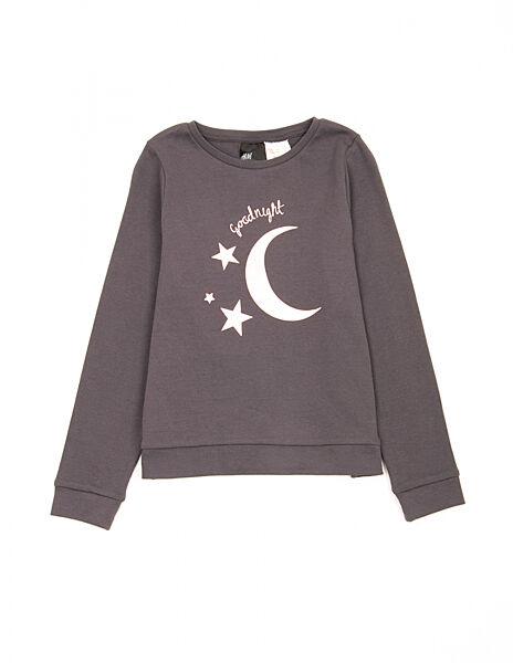 Пижамная футболка с длинными рукавами H&M 0703790 134-140 СМ Серый 64888