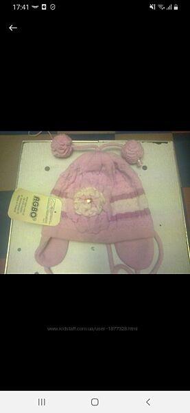 Демисезонные шапочки для девочки размер 46-48