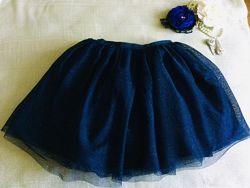 H&M НМ. Ярко- синяя пышная юбочка. Верхний слой фатина усыпан блестками.