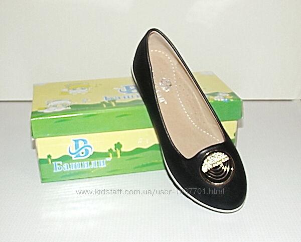 Туфли мокасины балетки для девочек черные 30 - 33