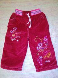 Детские вельветовые джинсы утепленные на 1-2 года