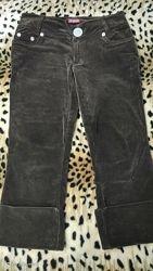 Вельветовые кюлоты брюки бриджи капри коричневые.
