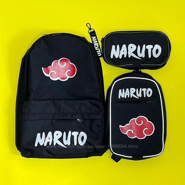 Наруто/Naruto школьный набор рюкзак, сумка через плечо и пенал для 6-14 лет