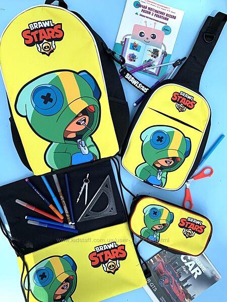 Леон из Бравл Старс школьный портфель ранец рюкзак сумка, пенал на 6-12лет