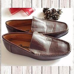 Мужские кожаные коричневые мокасины 42 размера. , бесплатная доставка