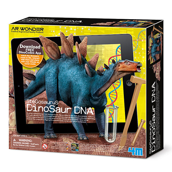Детский научный набор для раскопок исследований 4M ДНК динозавра Стегозавр