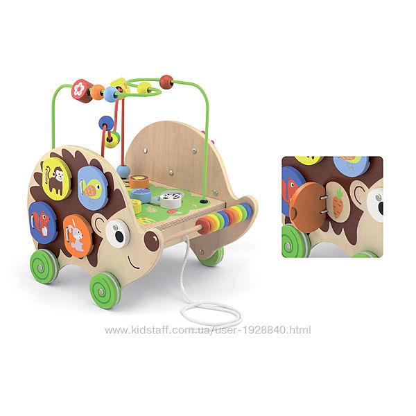 Деревянная каталка Viga Toys Ежик с бизибордом 50012