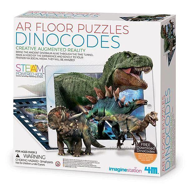Детский развивающий пазл с 3d дополненной реальностью Динозавры 4M