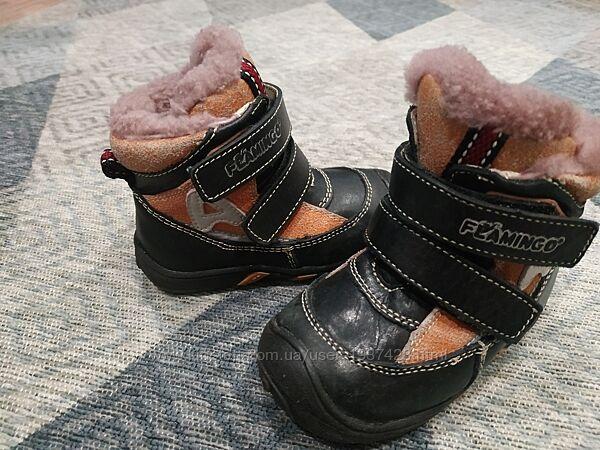 Зимние ботиночки, размер 21, кожа  овчинка, Flamingo